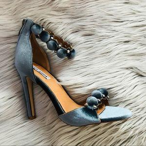 🦇 Cape Robbin blue gray Pom Pom heels